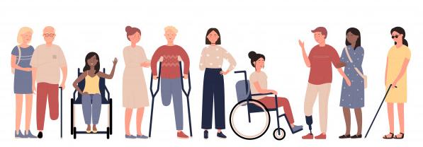 Illustration différentes personnes handicapées